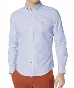 camisa tommy hilfiger azul rayas