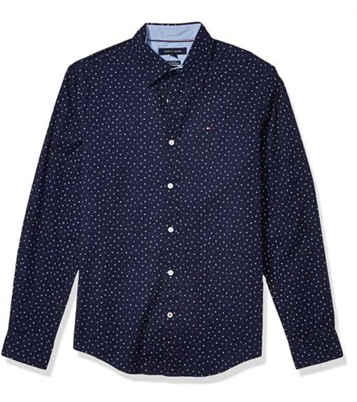 camisa tommy hilfiger azul oscura estampada