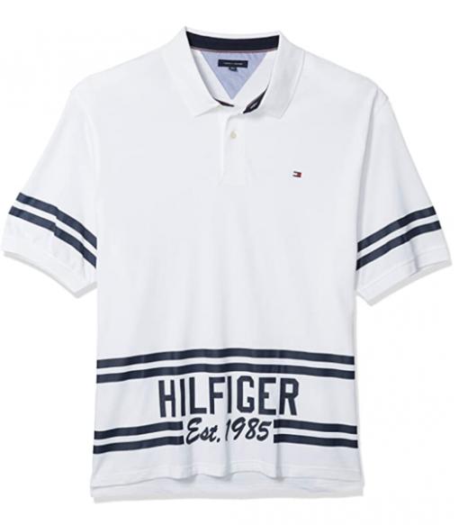 camiseta polo tommy hilfiger manga corta blanca rayas azules