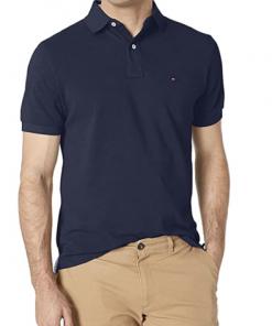 camiseta polo tommy hilfiger manga corta azul oscura