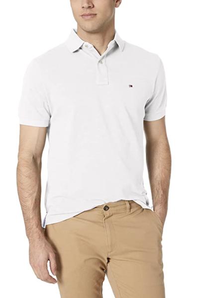 camiseta polo tommy hilfiger manga corta blanca