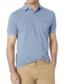 camiseta polo tommy hilfiger manga corta azul clarita