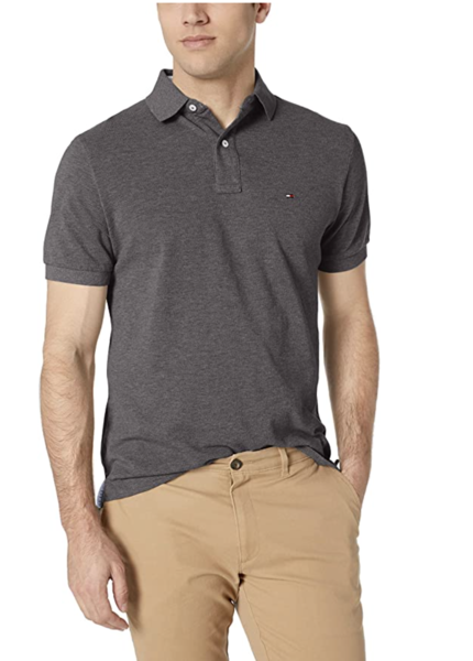 camiseta polo tommy hilfiger manga corta gris