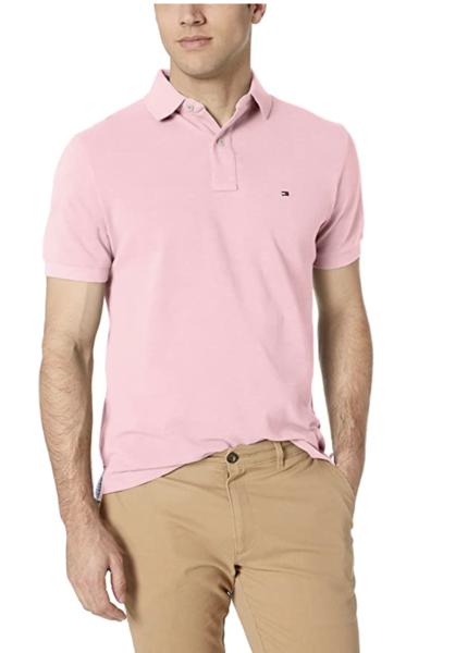 camiseta polo tommy hilfiger manga corta rosa palido
