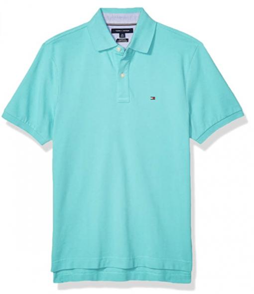 camiseta polo tommy hilfiger manga corta azul aguamarina