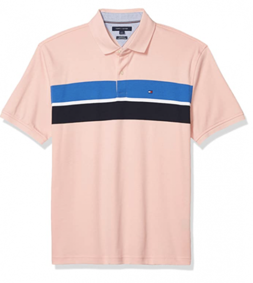 camiseta polo tommy hilfiger manga corta rosa