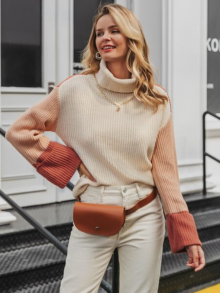 buso cuello alto beige cafe outfit
