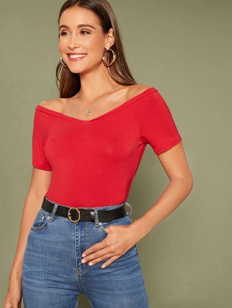 Blusa hombros descubiertos rojo