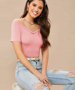 Blusa hombros descubiertos rosa