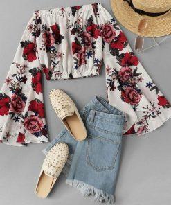 blusa top estampado flores blanca