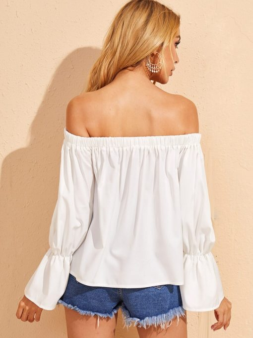 blusa blanca hombros descubiertos
