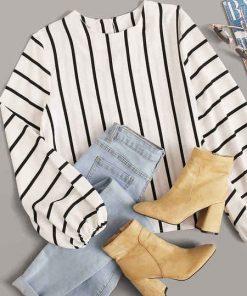 blusa elegante rayas mujer outfit