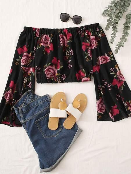 blusa top estampado flores negra