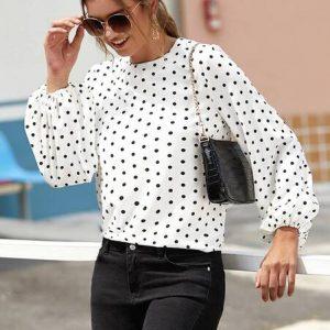 blusa blanca puntos negros manga ancha