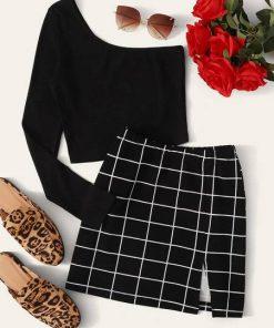 conjunto blusa falda outfit mujer