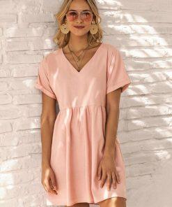vestido corto mujer rosa