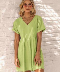 vestido corto mujer verde pastel