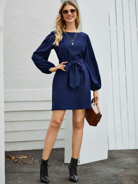 Vestido manga bombacha cuello redondo azul