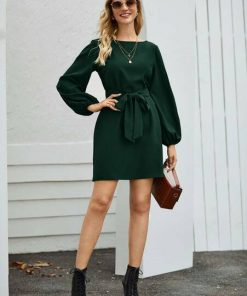 Vestido manga bombacha cuello redondo verde