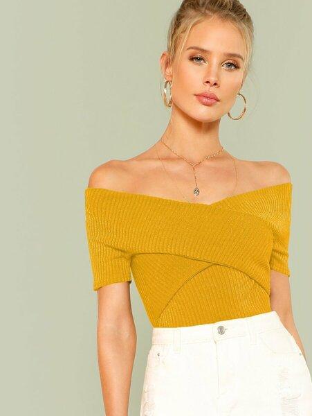 blusa cuello bandeja mujer amarillo quemado