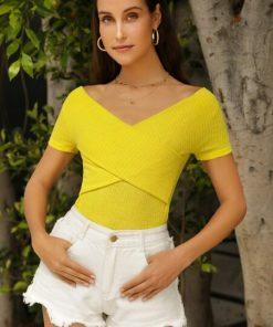 blusa cuello bandeja mujer amarillo