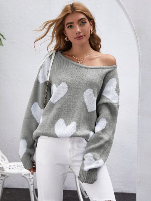 buso corazones mujer gris