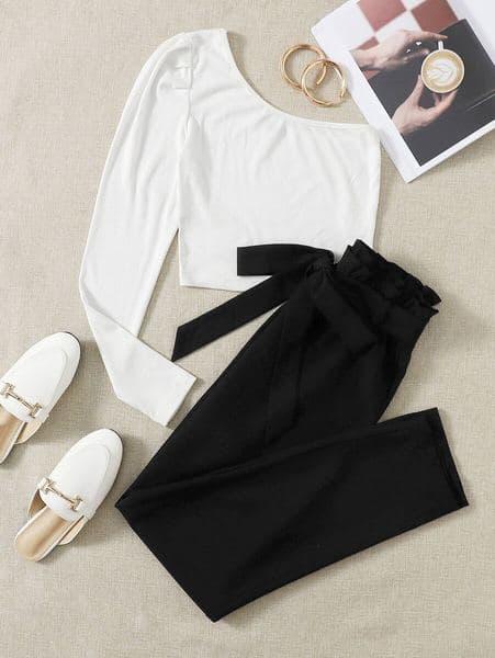 conjunto elegante mujer blusa pantalon