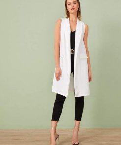 chaleco largo elegante blanco