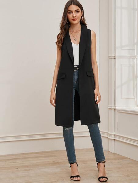 chaleco largo elegante negro