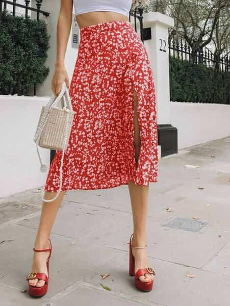 falda roja larga bogota