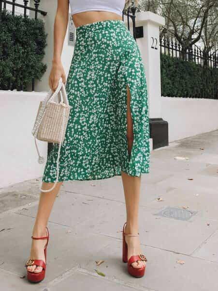 falda verde larga bogota