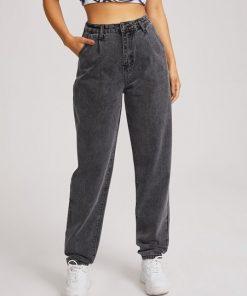 jean gris oscuro cintura alta