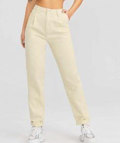 jean beige cintura alta
