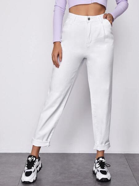 jean blanco cintura alta
