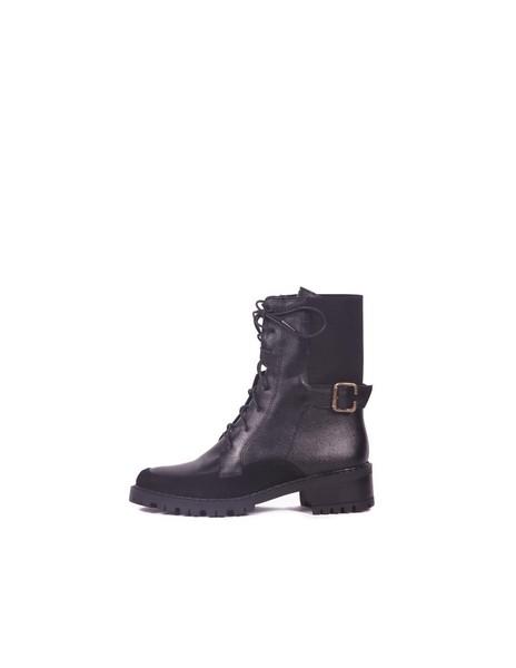 botines negros stivali cuero mujer