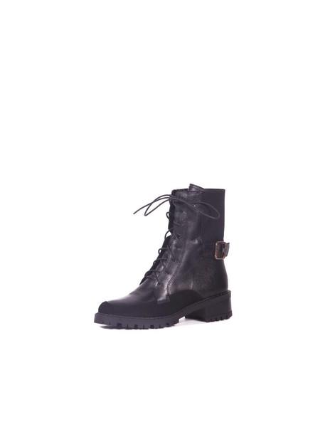 botines negros stivali cuero muje