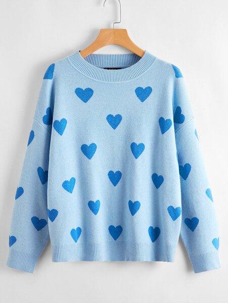 saco tejido corazones azul
